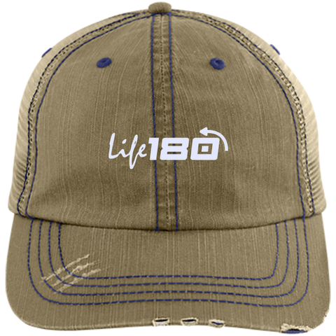 Image of LIFE180 Distressed Unstructured Trucker Cap