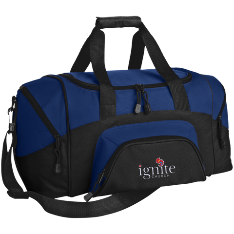 Image of IGNITE church - Small Colorblock Sport Duffel Bag - Kick Merch - 3