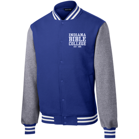 Image of IBC - Fleece Letterman Jacket - Clean Text Design - Kick Merch - 8