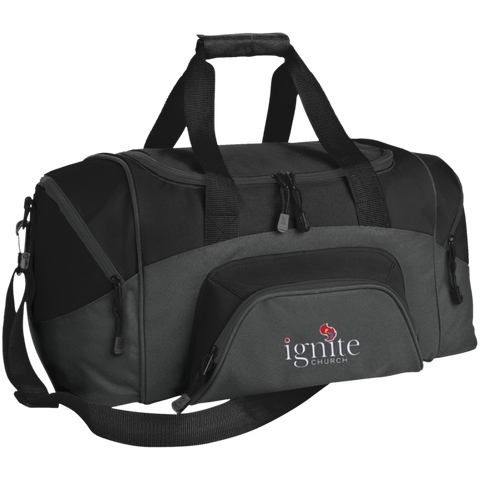 Image of IGNITE church - Small Colorblock Sport Duffel Bag - Kick Merch - 1