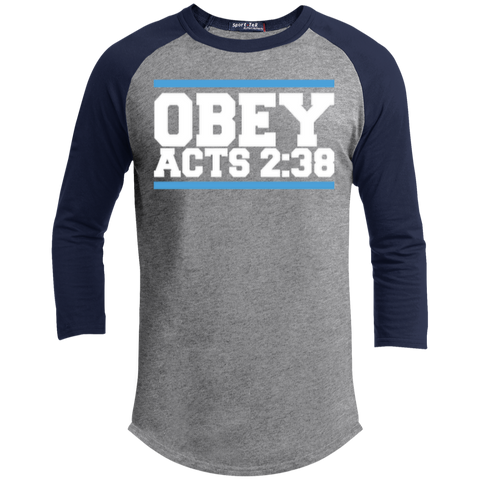 Image of Obey Acts 2:38 - Sporty 3/4 Length Tee Shirt - Kick Merch - 3