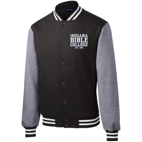 Image of IBC - Fleece Letterman Jacket - Clean Text Design - Kick Merch - 1