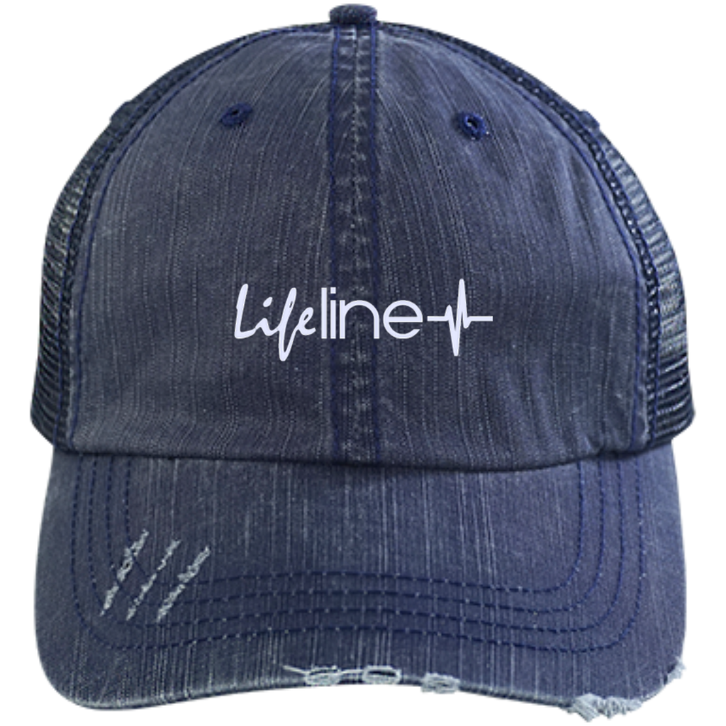 LIFE Line Distressed Unstructured Trucker Cap