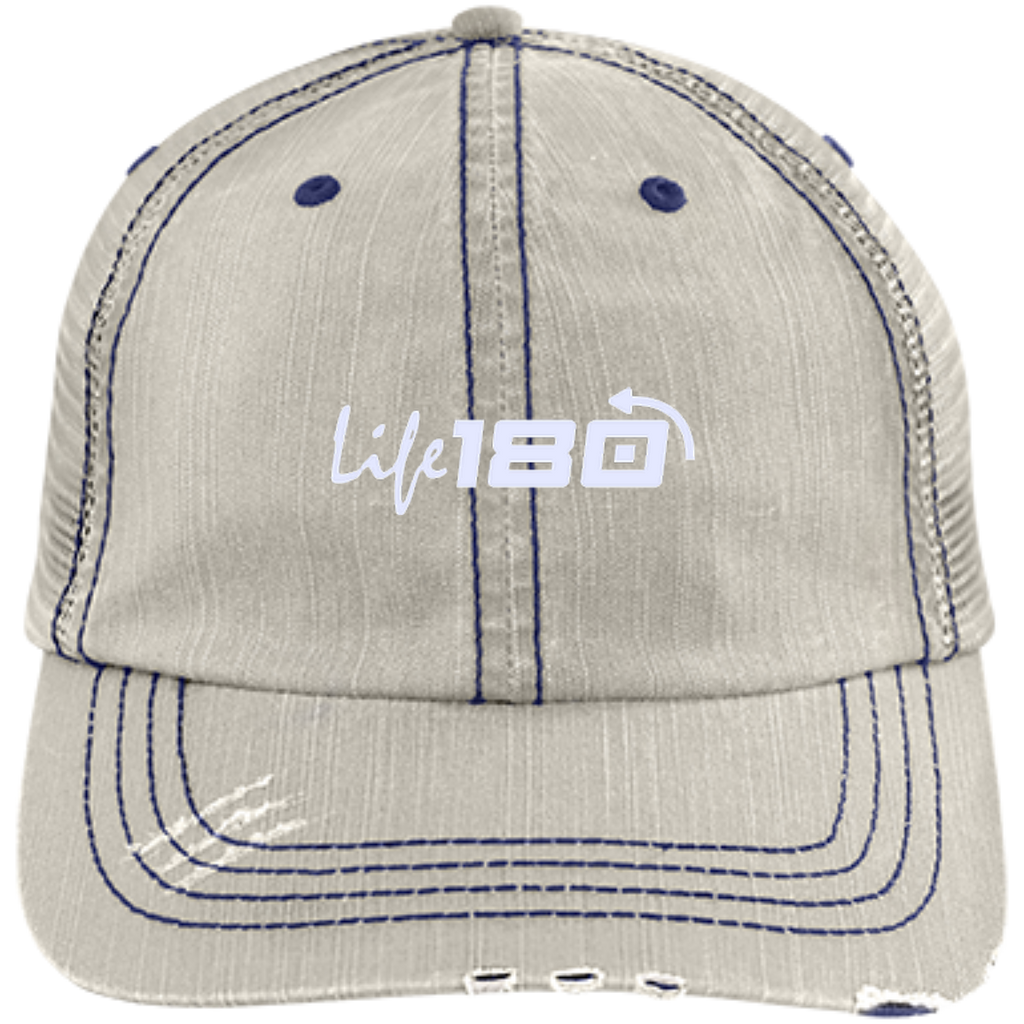 LIFE180 Distressed Unstructured Trucker Cap