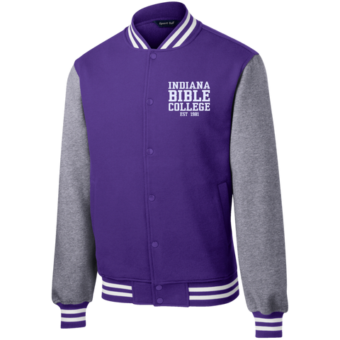 Image of IBC - Fleece Letterman Jacket - Clean Text Design - Kick Merch - 5