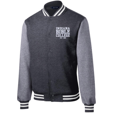 Image of IBC - Fleece Letterman Jacket - Clean Text Design - Kick Merch - 3