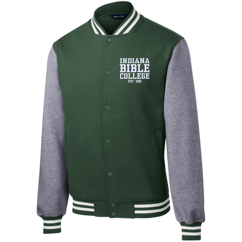 Image of IBC - Fleece Letterman Jacket - Clean Text Design - Kick Merch - 2