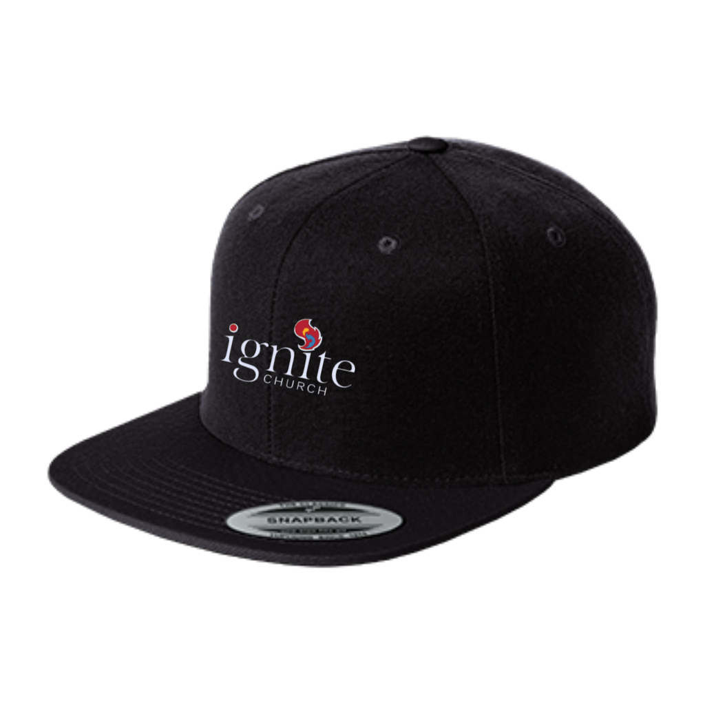 IGNITE church - Flat Bill High-Profile Snapback Hat - Kick Merch - 1