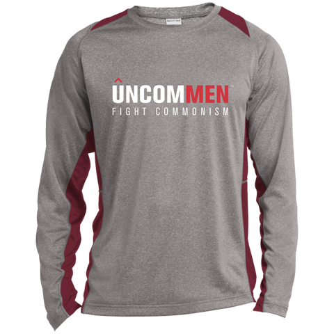 Image of UNCOMMEN Fight Commonism - Long Sleeve Heather Colorblock Poly T-shirt