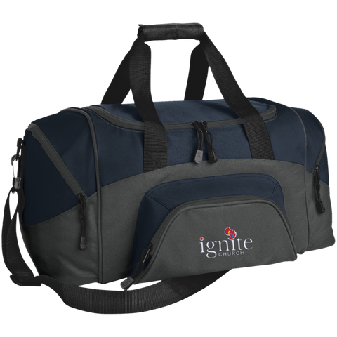 Image of IGNITE church - Small Colorblock Sport Duffel Bag - Kick Merch - 2
