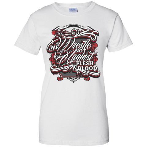 Image of We Wrestle Not - Ladies Cotton T-Shirt - Godly Wear - Kick Merch - 2