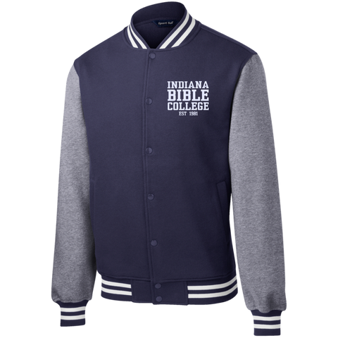 Image of IBC - Fleece Letterman Jacket - Clean Text Design - Kick Merch - 6
