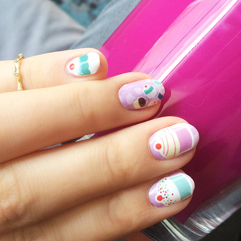 Image showing NailSnaps made from an illustrated cupcake pattern
