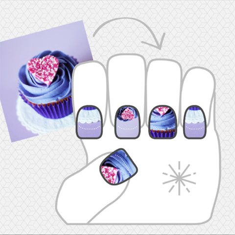 Image showing NailSnaps made from a picture of a cute purple cupcake.
