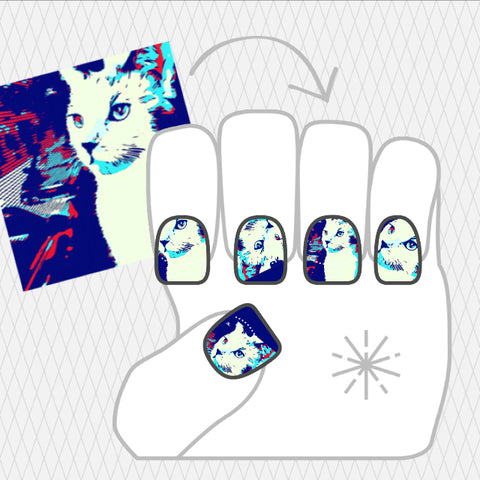 Image showing NailSnaps made with a customized cat illustration.