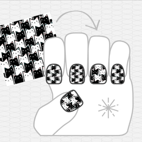 Image showing NailSnaps made with an illustration of black and white cats.