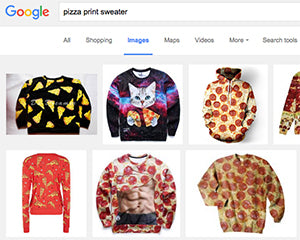 Image of google search of pizza sweaters