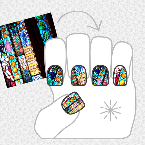 Image showing NailSnaps made using a image of stained glass.