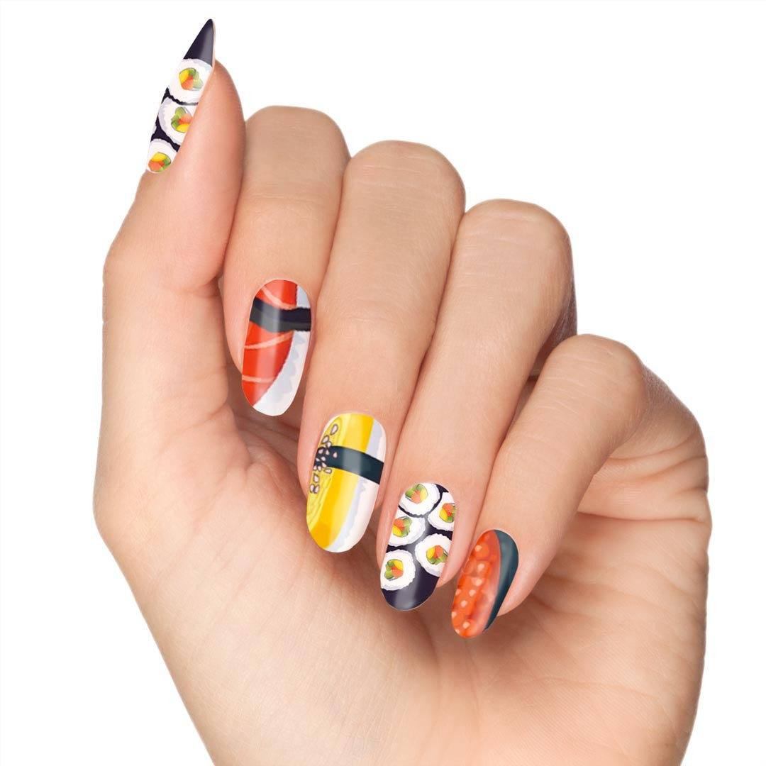 "Let S Talk Nail Art: ""Let's Roll"" Easy Sushi Nail Art"