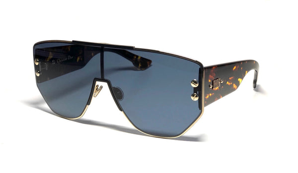 Dior Addict 1 Large Shield Sunglasses - Gold Metal, Tortoise Sides and Blue Lens