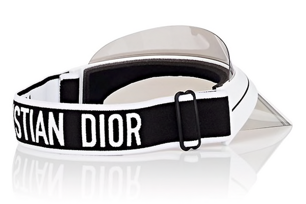 DIOR Club 1 Visor Hat - Black with Metallic Silver Mirror Brim