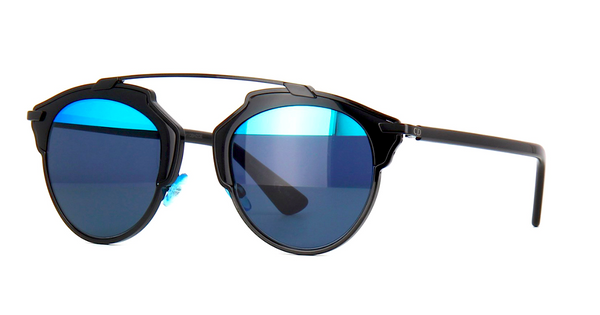 DIOR SO REAL BLACK WITH GRAY & BLUE MIRROR LENS -  - Sunglasses - Sunglass Trend - 1