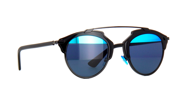 DIOR SO REAL BLACK WITH GRAY & BLUE MIRROR LENS -  - Sunglasses - Sunglass Trend - 4