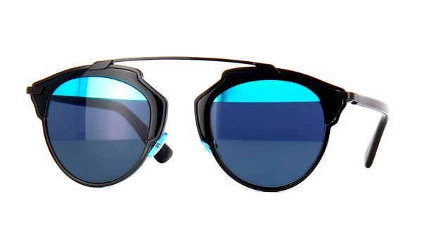 DIOR SO REAL BLACK WITH GRAY & BLUE MIRROR LENS -  - Sunglasses - Sunglass Trend - 9
