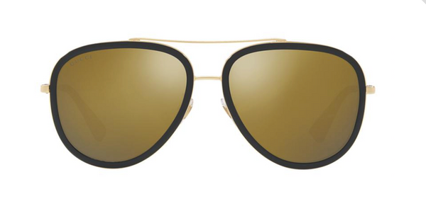 gucci metal aviator sunglasses with gold lenses