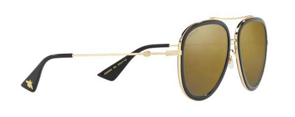GUCCI GG0062s 001 Large Black Aviator Sunglasses with Gold Mirror Lens