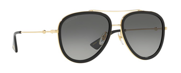 gucci gold metal aviator sunglasses with polarized lenses