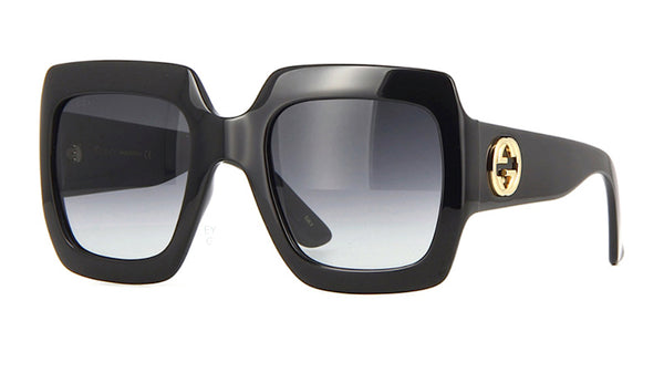 GUCCI gg0053s 001 Womens Large Black Square Gucci Sunglasses