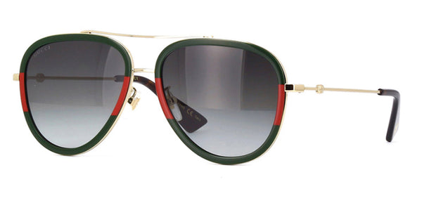 GG0062s 003 Large Geen and Red Gucci Aviator