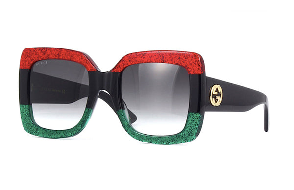 GUCCI GG0083S 001 Large Square Glitter Sunglasses - Red Black and Green