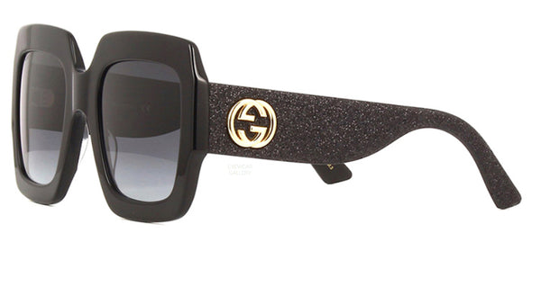 GUCCI Large Black Glitter Square Gucci Sunglasses GG0102S 001