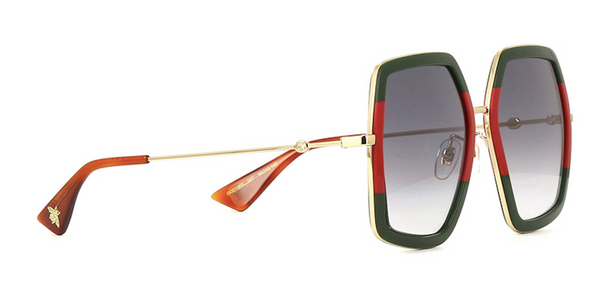 GUCCI Extra Large Gold with Green and Red Two Tone Sunglasses GG0106s 007