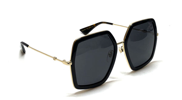 GUCCI GG0106S 001 Extra Large Black Metal Square Sunglasses