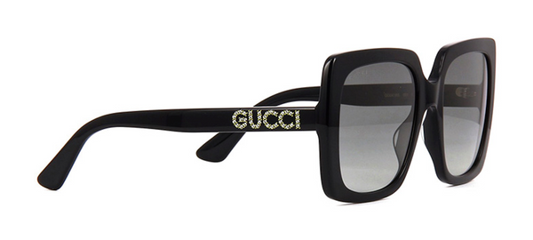 72637f4a0 GUCCI GG0418S 001 Black Square Sunglasses with Hand Set Swarovski Crystals