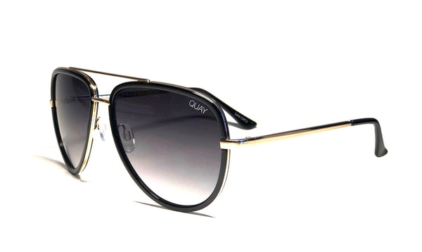 Quay Australia x JLO Black All In Aviator Sunglasses Black Gold Smoke