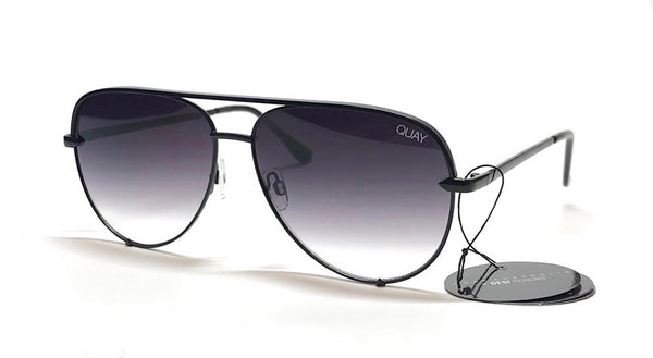 Quay Gradient High Key Mini Avaitor Sunglasses Black / Fade