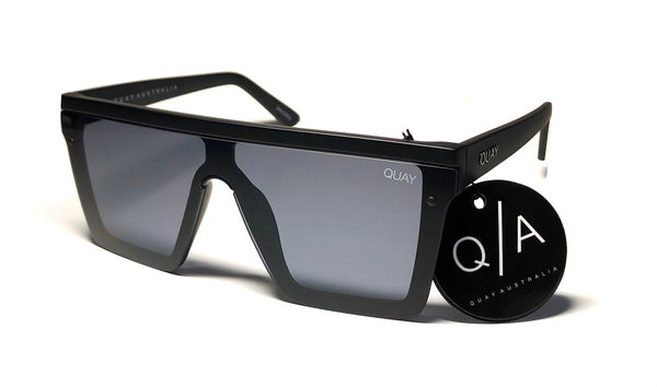 Quay Australia Large Oversized Black Hindsight Shield Sunglasses