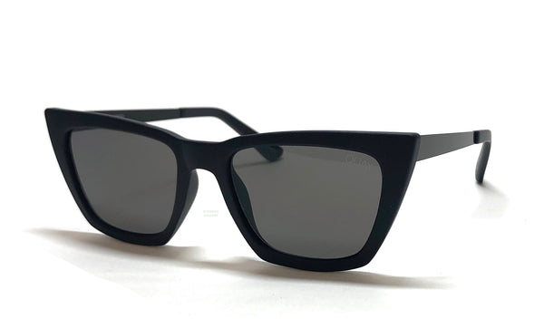 Black Quay Australia dont @ me sunglasses with gray smoke lenses, designed by Desi Perkins.