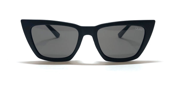 Front view of Black Quay Australia dont at me sunglasses with gray smoke lenses, designed by Desi Perkins.