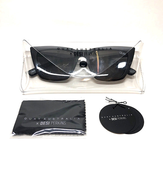 Black Quay Australia dont at me sunglasses with gray smoke lenses, and clear sunglass case designed by Desi Perkins.