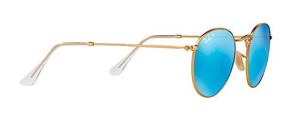 RAY BAN RB 3447 N GOLD WITH BLUE FLASH MIRROR LENS -  - Sunglasses - Sunglass Trend - 3