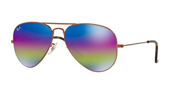 RAY BAN RB 3025 90192C PURPLE RAINBOW FLASH MIRROR LENS -  - Sunglasses - Sunglass Trend - 1