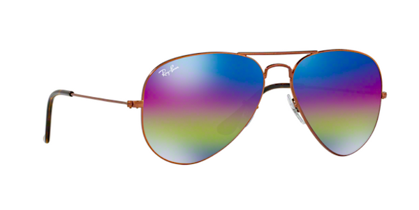 RAY BAN RB 3025 90192C PURPLE RAINBOW FLASH MIRROR LENS -  - Sunglasses - Sunglass Trend - 3