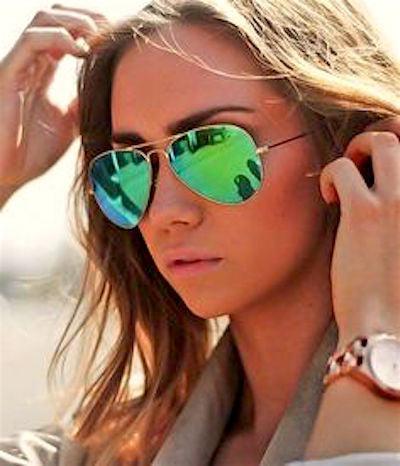 RAY BAN  RB 3025 GOLD WITH GREEN MIRROR LENS -  - Sunglasses - Sunglass Trend - 8