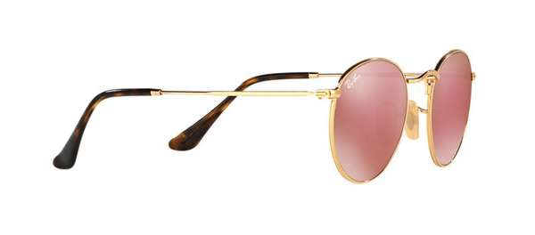 RAY-BAN Round - Gold with Pink Mirror Lenses