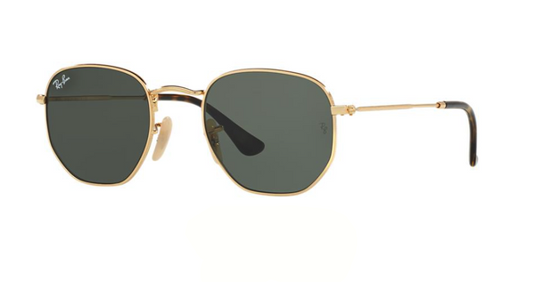 Ray Ban Hexagonal Flat Lens Gold Sunglasses RB 3548N 001